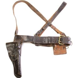 U.S. leather holster, belt, shoulder straps,