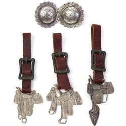 Collection of 3 sterling silver saddle shop fobs,