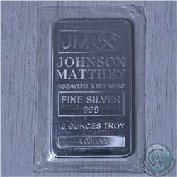 10 oz  Johnson Matthey .999 Fine Silver Bar (Tax Exempt)