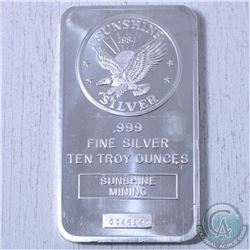 10 oz .999 Fine Silver Sunshine Mint bar (Tax Exempt)