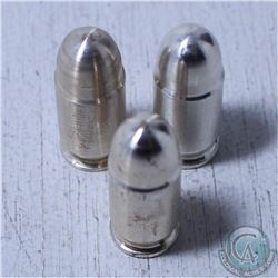 Lot of 3x  1 oz .999 Fine Silver Bullet .45 Caliber ACP. Tax Exempt