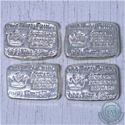 Lot of 4x Hand Poured Monarch Precious Metals 1 oz .999 Fine Silver Bar (TAX Exempt)
