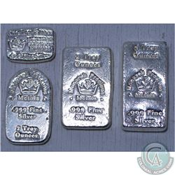 Lot of 4x Monarch Precious Metals 1oz, 2oz, 3oz and 5oz  .999 Fine Silver bars (Tax Exempt)