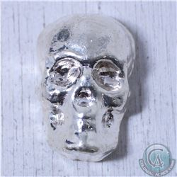 3oz. Monarch Hand Poured Skull .999 Silver