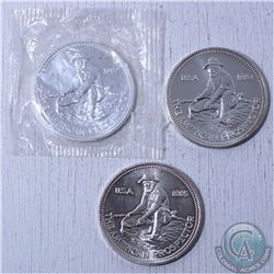 Lot of 3x Englehard 1982,1984 and 1985 American Prospector 1oz .999 Fine Silver Coins (Tax Exempt).