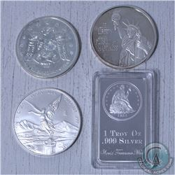 Lot of 4x 1oz Fine silver Rounds/bar. This lot includes the 2013 Mexico libertad, 2009 olympic raven