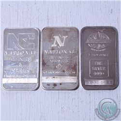 Lot of 3x 1oz .999 Fine silvers. This lot includes 2x national refiners bars and 1x  englehard bar.