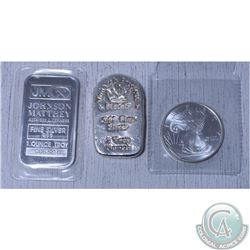 Lot of  3x various .999 Fine Silver bar/rounds. This lot includes 1x Johnson Mathhey 1oz bar, 1x 2oz
