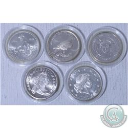 Lot of 5x  various 1oz .999 Fine Silver rounds. ( Tax Exempt) 5pcs. Some coins contains natural toni