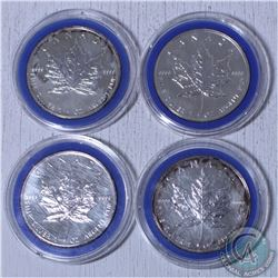 Estate lot of 4x 1991,1994,1995, and 1997 Canada 1oz .9999 Fine Silver Maple Leafs.(Tax exempt) 4pcs