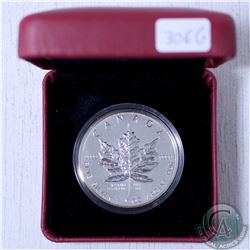 2004 Canada Desjardins Privy Mark 1oz. Silver Maple Leaf in Red RCM Display Box. (Coin has ton