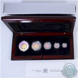 2003 Canada Hologram 5-coin Silver Maple Leaf Set. Tax Exempt (impaired outer box)