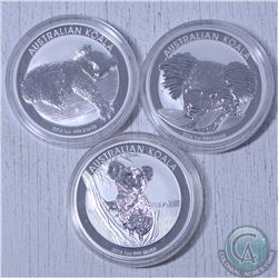 Lot of 3x Australian  Koala 1oz .999 Fine Silver Coins.  You will receive a 2012,2014 and 2015 dated
