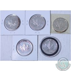 lot of 5x 1991,1992,1995,1999, and 2000 Canada 1oz .9999 Fine Silver Maple Leaf coins.(Tax Exempt).