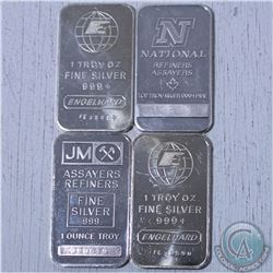 Lot of 4x 1oz. .999 Fine silver Bars. You will receive a National refiners bar, 2x Engelhard bars an