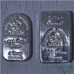 Lot of 2x Monarch Precious Metals 2oz & 3oz  .999 Fine Silver bars (Tax Exempt)