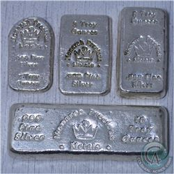 Lot of 4 x Monarch Precious Metals  10oz, 5oz, 3oz & 2oz .999 Fine Silver bars (Tax Exempt)