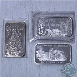 Lot of 3x Holiday Themed 1oz .999 Fine Silver bars (Tax Exempt) 3pcs. Bars contains natural toning.