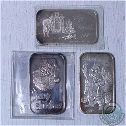 "Lot of 3x ""Merry Christmas"" 1oz .999 Fine Silver bars with spot for engraving (Tax Exempt) 3pcs. Bar"