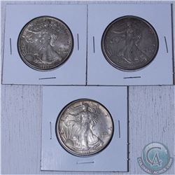 1988,1993 and 1995 USA 1oz .999 Fine silver eagle (Tax Exempt) 3pcs. Coin contain natural toning.