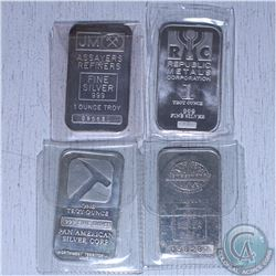 Estate lot of 4x Miscellenious 1oz .999 Fine Silver bars. 4pcs (Tax Exempt). Coin contains natural t