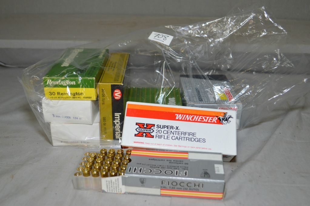 Bag Lot: Various ammo including 2 boxes 9mm luger, 1 box 30