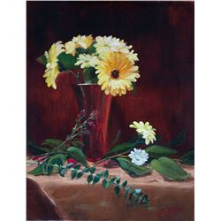 Gerber Daisies in Red Vase, by Phyllis Tag