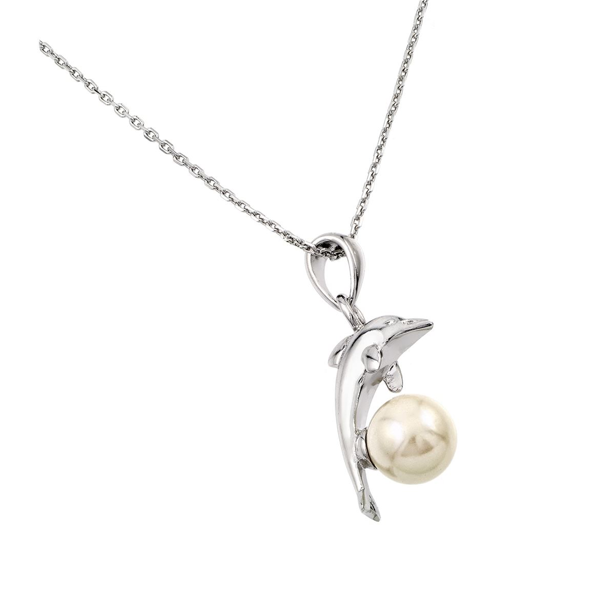 Sterling Silver Necklace w// Dolphin Leaping Over Pearl