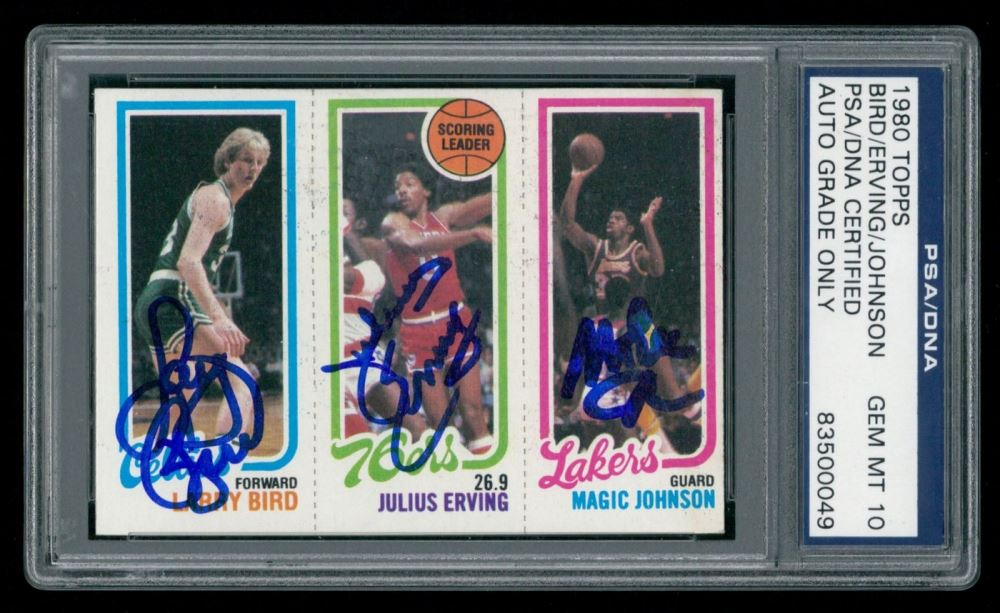 Triple Signed 1980 81 Topps Larry Bird Rc Julius Erving