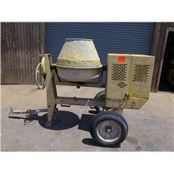 Cement Mixer (Yellow) - Trailer Mounted, Gas Motor