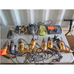 Misc. Power Tools: 7 Drills, Grinder, Charger, etc.
