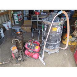 4 Items: Shop Vac, Husky Pressure Washer, Concrete Stain Sprayer, Unknown Motor