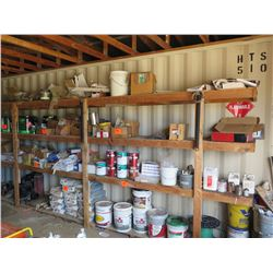 Contents of Shelving: Paint, Stain, Concrete, Wire, Lacquer