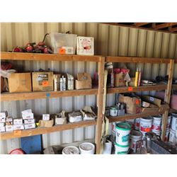 Contents of Shelves Including: Fire Extinguisher, Chain Hoist, Adhesive, Acryl 60