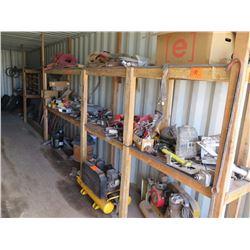 Contents of Shelf: 2 Air Compressors, John Deere & Cat Parts, Hoses, etc.