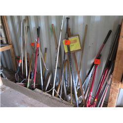 Lot of Hand Tools: Bolt Cutter, Shovels, Rakes, Brooms, etc.