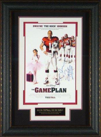 The Game Plan Signed 22X30 Masterprint Poster Leather Framed W/Dwayne