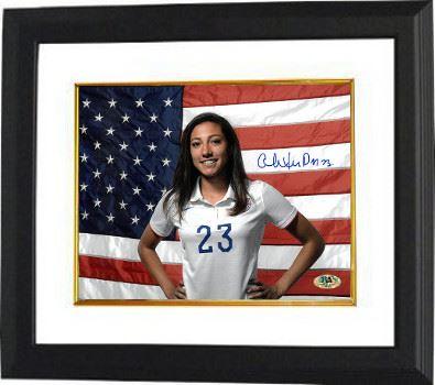 Christen Press Signed 8X10 Photo Custom Framed (Horizontal-With Flag)(Team  USA Women'S Soccer Team)