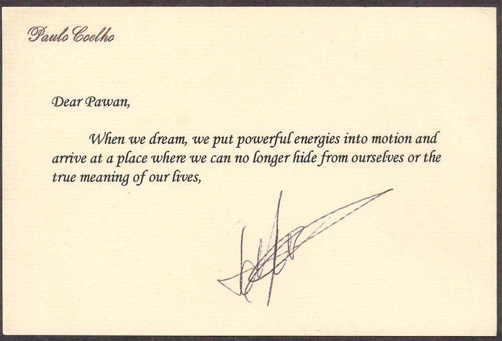 Autograph of Paulo Choelho The Great Novelist