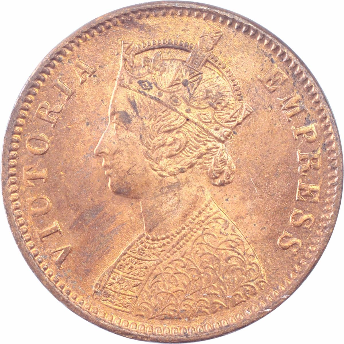 Copper Quarter Anna Coin of Victoria Empress of Calcutta Mint of 1880