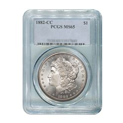 1882-CC $1 Morgan Silver Dollar - PCGS MS65