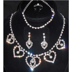 BEAUTIFUL ESTATE JEWELRY SET - RING, EARRINGS, NECKLACE & BRACELET