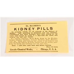 VINTAGE DR BLUMERS KIDNEY PILLS ADVERTISING LABEL
