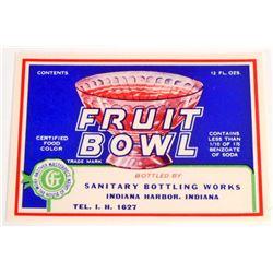 VINTAGE FRUIT BOWL SODA ADVERTISING BOTTLE LABEL