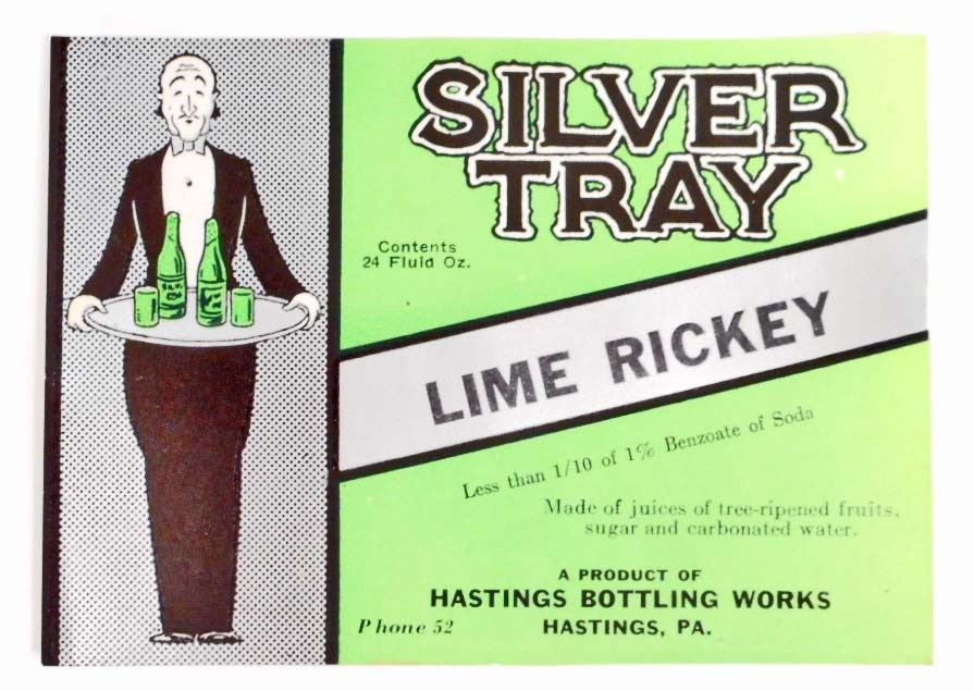 VINTAGE SILVER TRAY LIME RICKEY SODA ADVERTISING BOTTLE LABEL