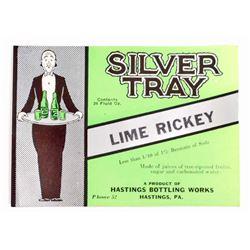 VINTAGE SILVER TRAY LIME RICKEY SODA ADVERTISING BOTTLE LABEL