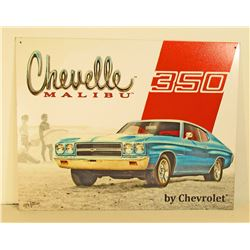 CHEVELLE MALIBU 350 AUTOMOBILE ADVERTISING METAL SIGN