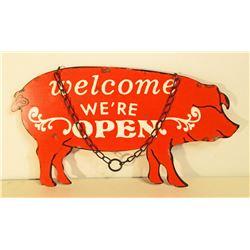 METAL DIE-CUT PIG OPEN / CLOSED HANGING SIGN