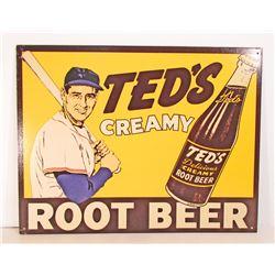 TEDS CREAM ROOT BEER ADVERTISING METAL SIGN