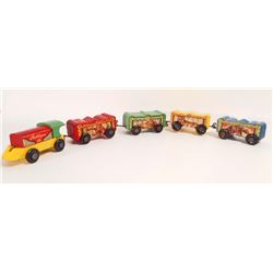 VINTAGE 1950S WOODEN CALLIOPE CIRCUS TRAIN - 5 PIECES